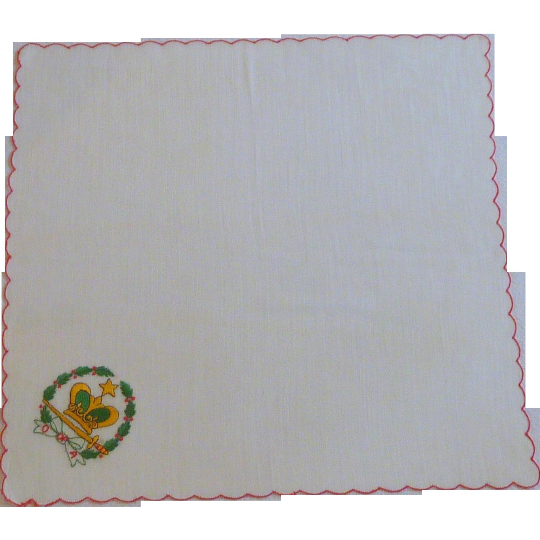 Christmas Wreath, Crown and Sword White Handkerchief