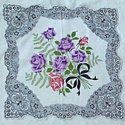 Purple Roses & Black Lace Motif Handkerchief