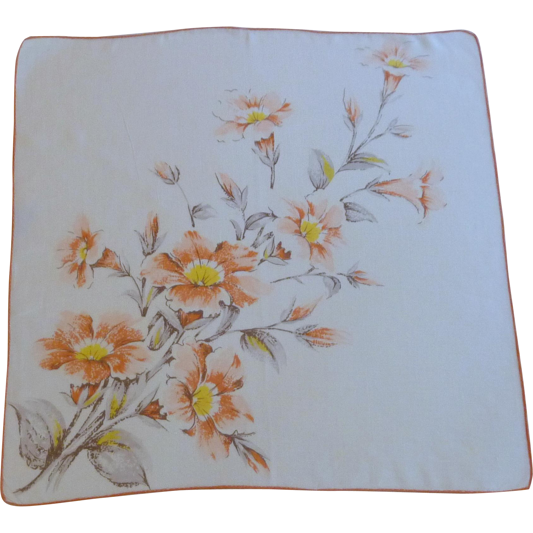 1950's Cotton Orange Trumpet Flowered Handkerchief