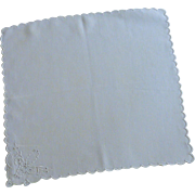 Simple White Scalloped Edge Embroidered May Basket Handkerchief