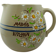 "Large Oval Round Pottery ""Mara's Kitchen""  Pitcher"
