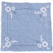 Blue Linen Cutwork and White Appliqué Handkerchief Hanky