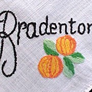 Bradenton, Florida Souvenir Linen Handkerchief Hankie