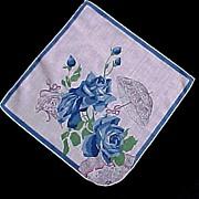Blue Roses Umbrella Parasols Handkerchief Hanky