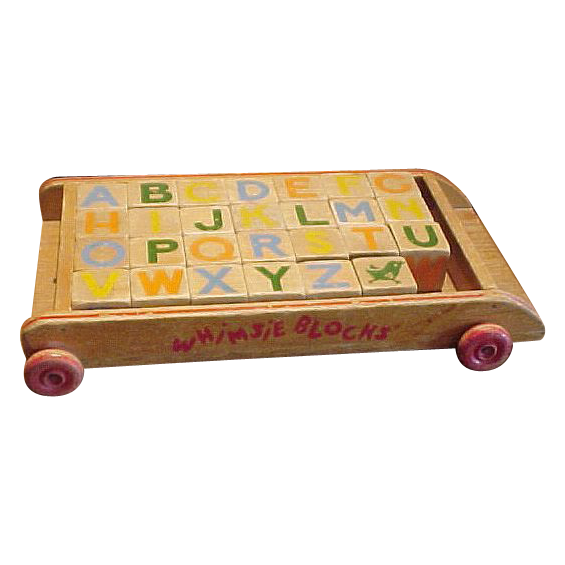 Vintage Whimsie Building Blocks and Wagon