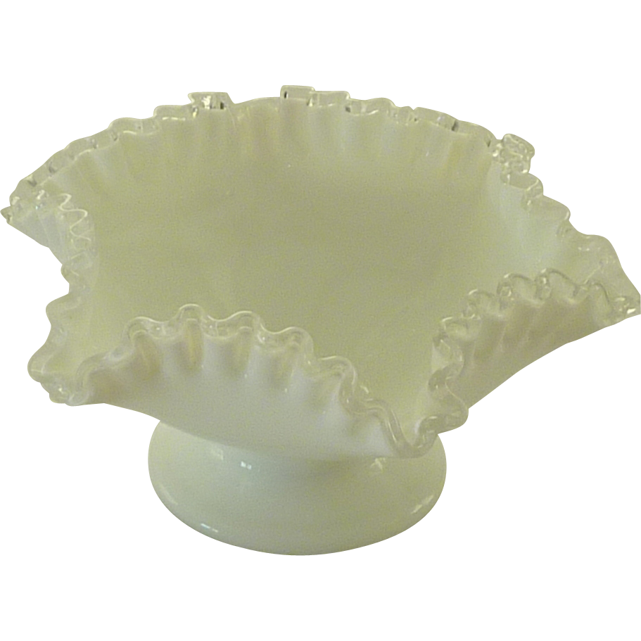 Fenton Crest Pattern Footed Fluted Bowl