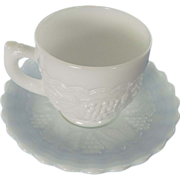 Imperial Glass Vintage Grape  Cup and Saucer Milk Glass