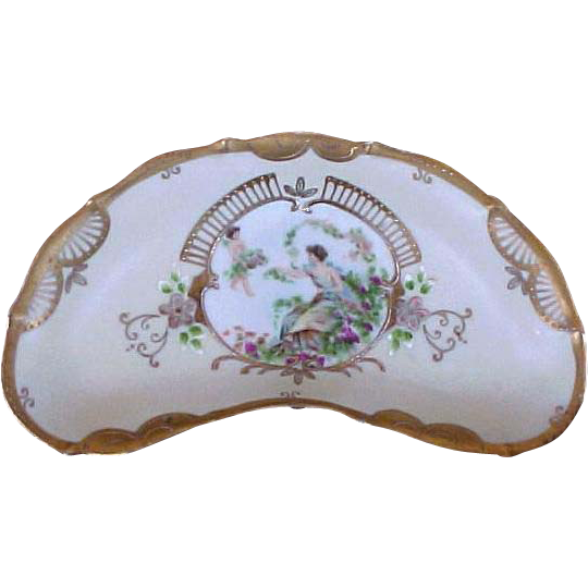 Hand Painted Bone Dish Scalloped Edge