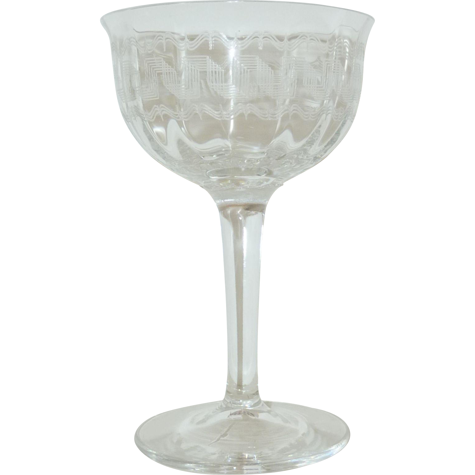 Fostoria Greek Etched Stem Liquor Cocktail Glass
