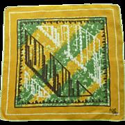 Designer Signed Kati Abstract Design Linen Handkerchief