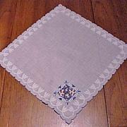 Initial  Blue B Cutwork on White Handkerchief