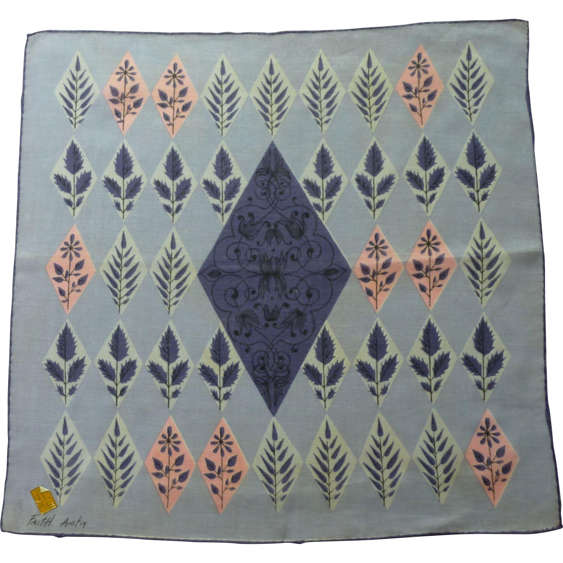 Faith Austin Linen Purple / Pink Leaf Handkerchief