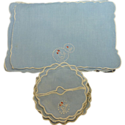 Vintage set of 10 Blue Linen Cocktail Napkins and Coasters