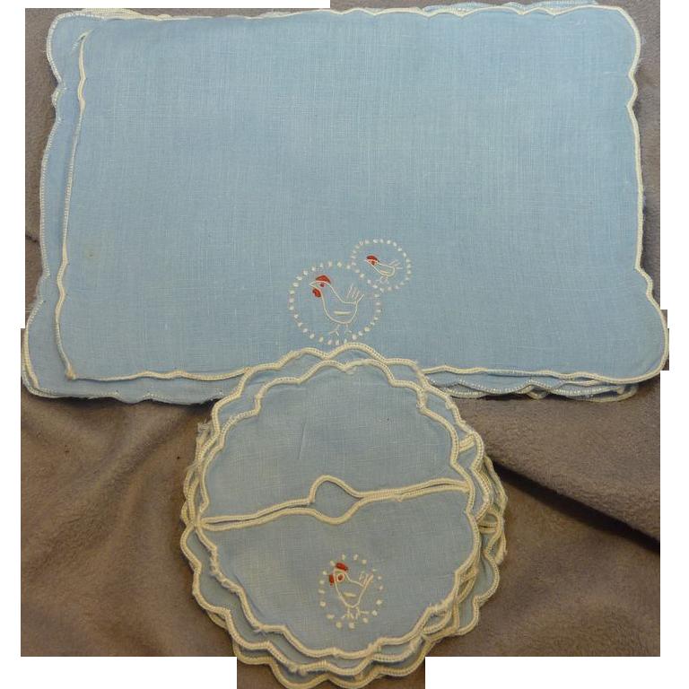 Vintage set of 10 Blue Linen Cocktail Napkins and Coasters