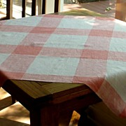 Pink Tan Beige Plaid Small Tablecloth