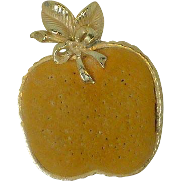 Flat Yellow Apple Pin Cushion w/ Gold Tone Trim