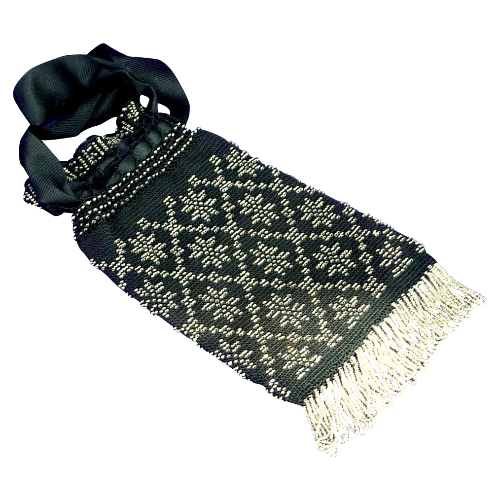 Black Draw String Silver Metal Beads Handbag Purse Reticule