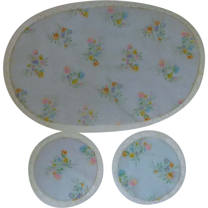Voile Flowered Doily Doilies Dresser Table Set 3 Piece