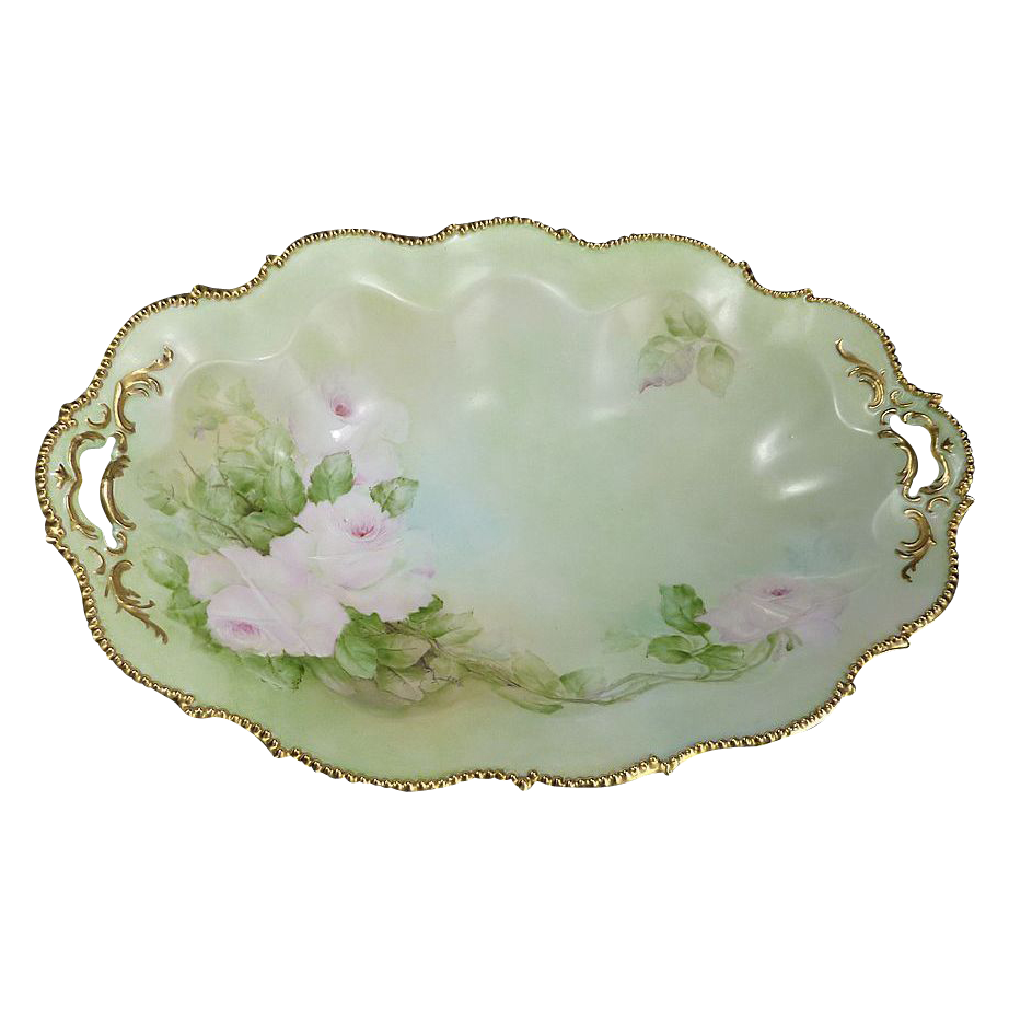 Beautiful Hand Painted Gold Tone Beaded Rose Oval Bowl