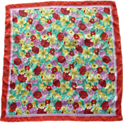Red Floral Head or Neck Scarf