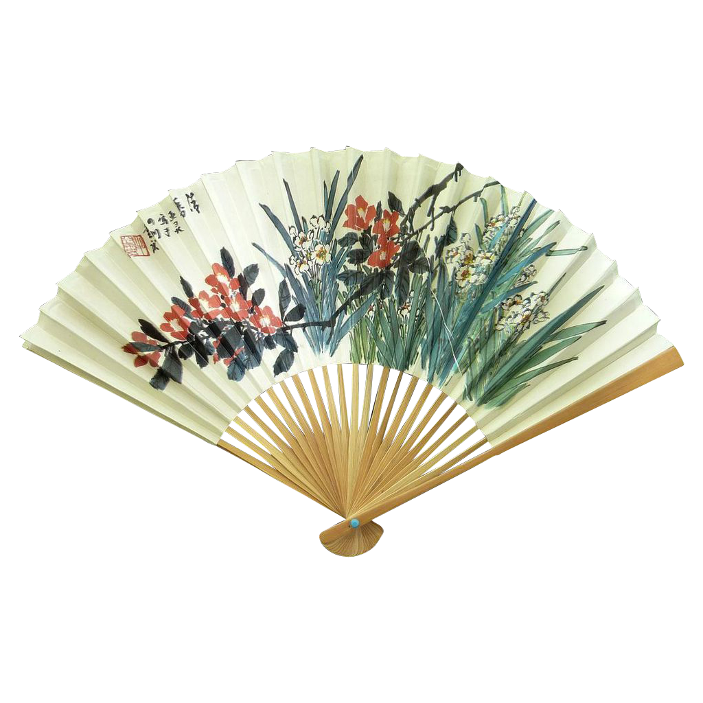 China Airlines Folding Hand Fan Circa 1980's – Plum Blossoms