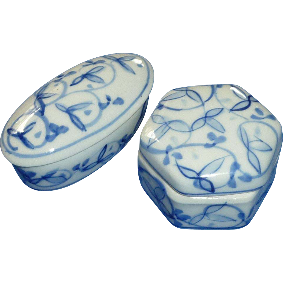 Two Porcelain China White and Blue Trinket Box Boxes