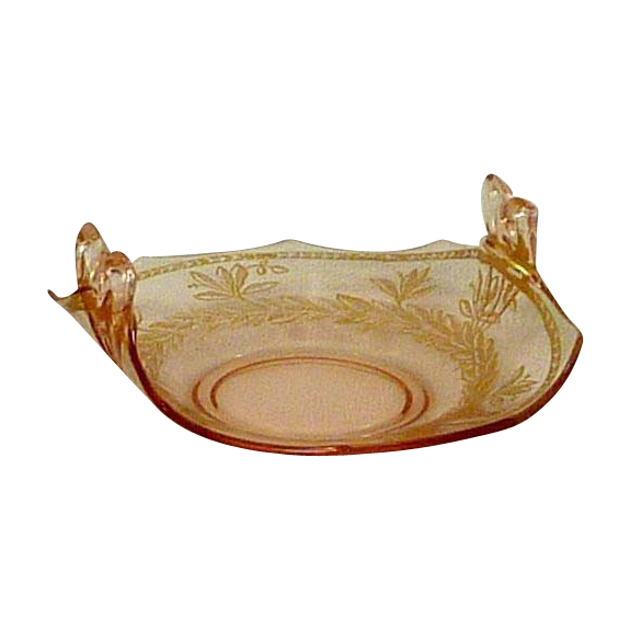 Vintage Pink Glass Small Dish with Gold Trim