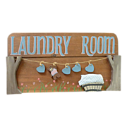 Laundry Room Wooden Picture Plaque with Teddy Bear 1980's