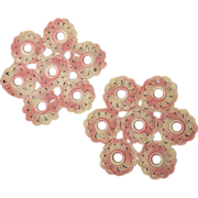 Pink Variegated Crocheted Flower Doily Doilies