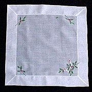 White Cotton Christmas Holly and Candles Handkerchief Hanky - Red Tag Sale Item