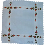 Jean d 'orly Paris Signed Floral Handkerchief Hanky