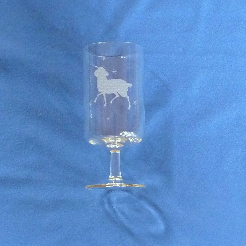 Etched Aires the Ram Zodiac Drinking Glass