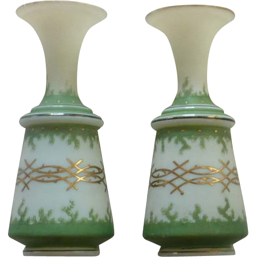 Set of Asian Oriental Green and Gold Vases