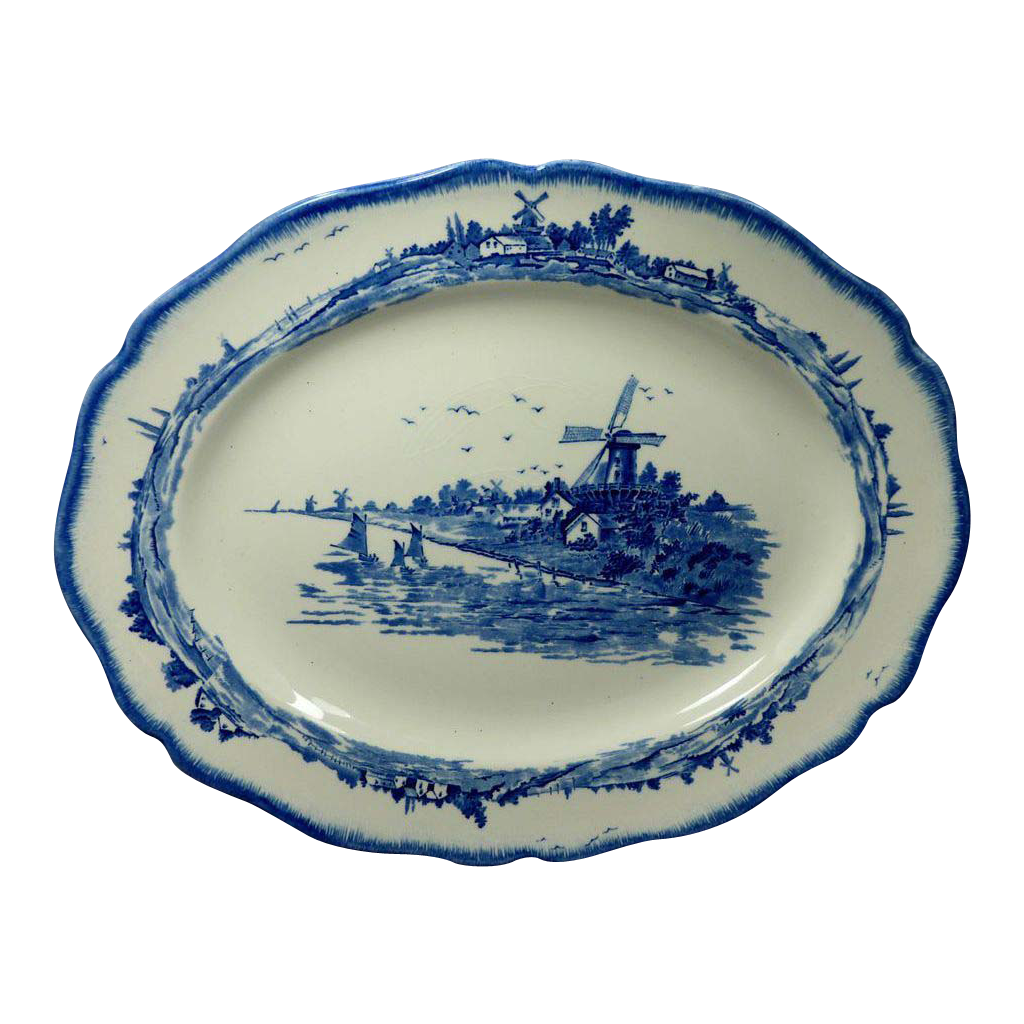 Norfolk Blue Pattern Oval Serving Platter Royal Doulton