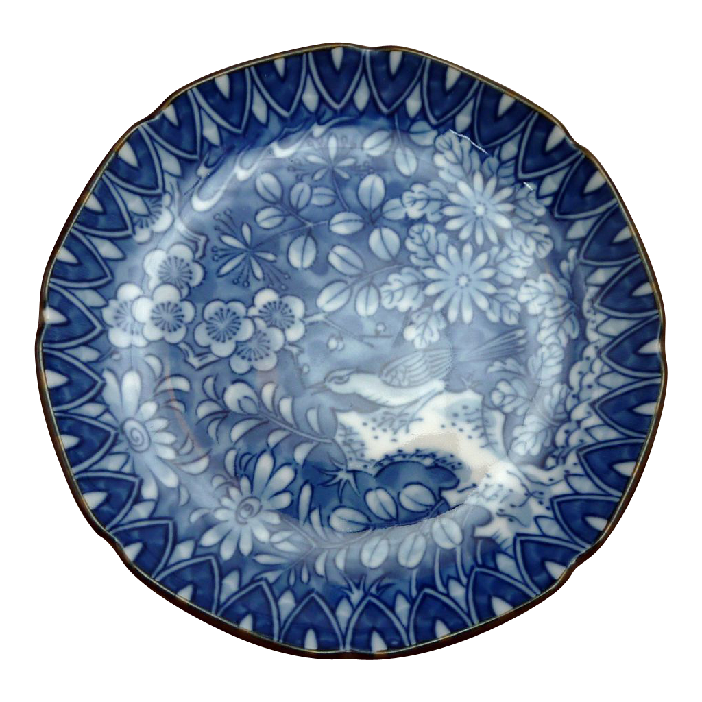 Blue and White Floral Asian Coin Plate