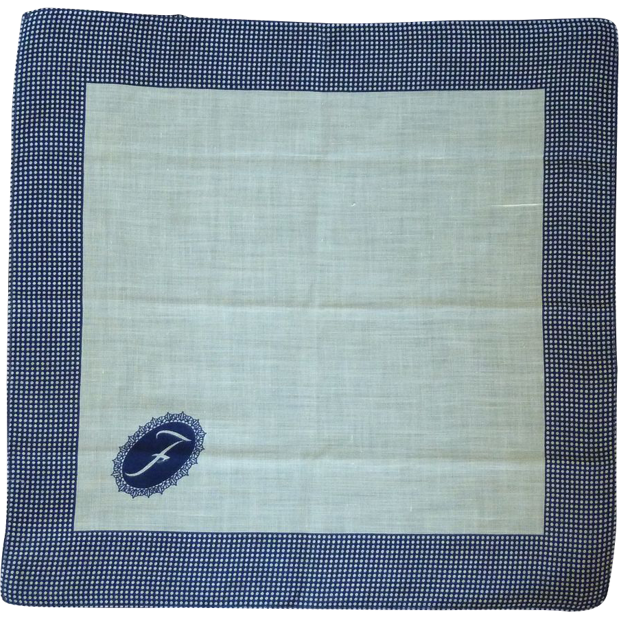 """F"" Initial on White with Navy Blue Border Linen Handkerchief Hanky"