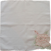 White with Beautiful Pink Rose Handkerchief Hanky