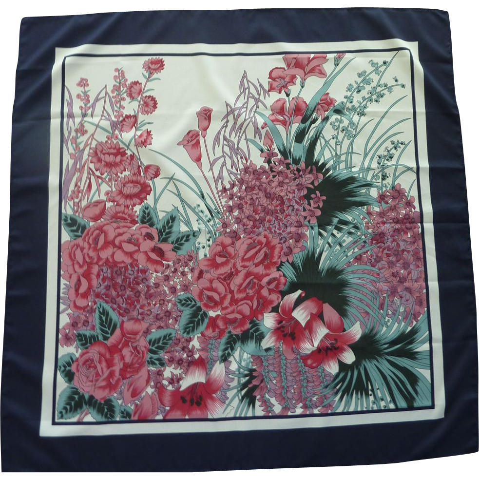 Flowers in Fuchsia Purple Navy Border Scarf