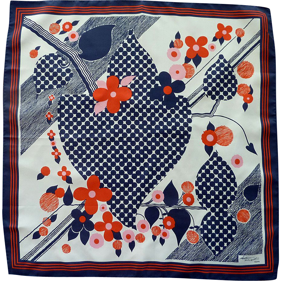 Red, White and Blue 1960's Antoine Hugot Paris Scarf
