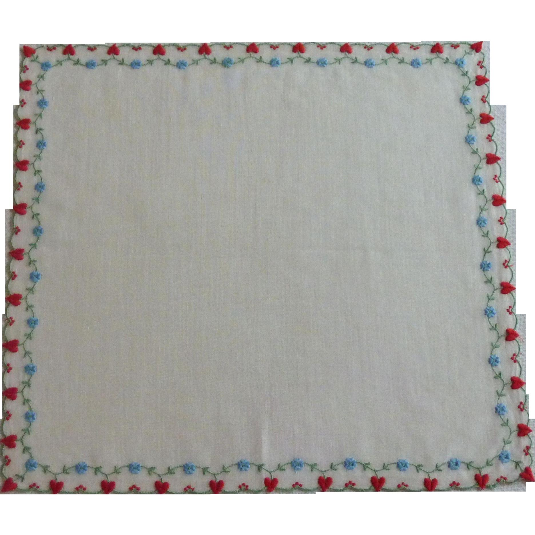 Red Hearts & Blue Flowers Valentine Handkerchief Hankie Hanky