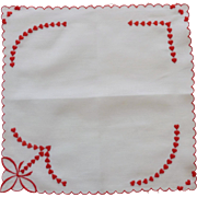 Satin Stitch Red Hearts on White Handkerchief Valentines
