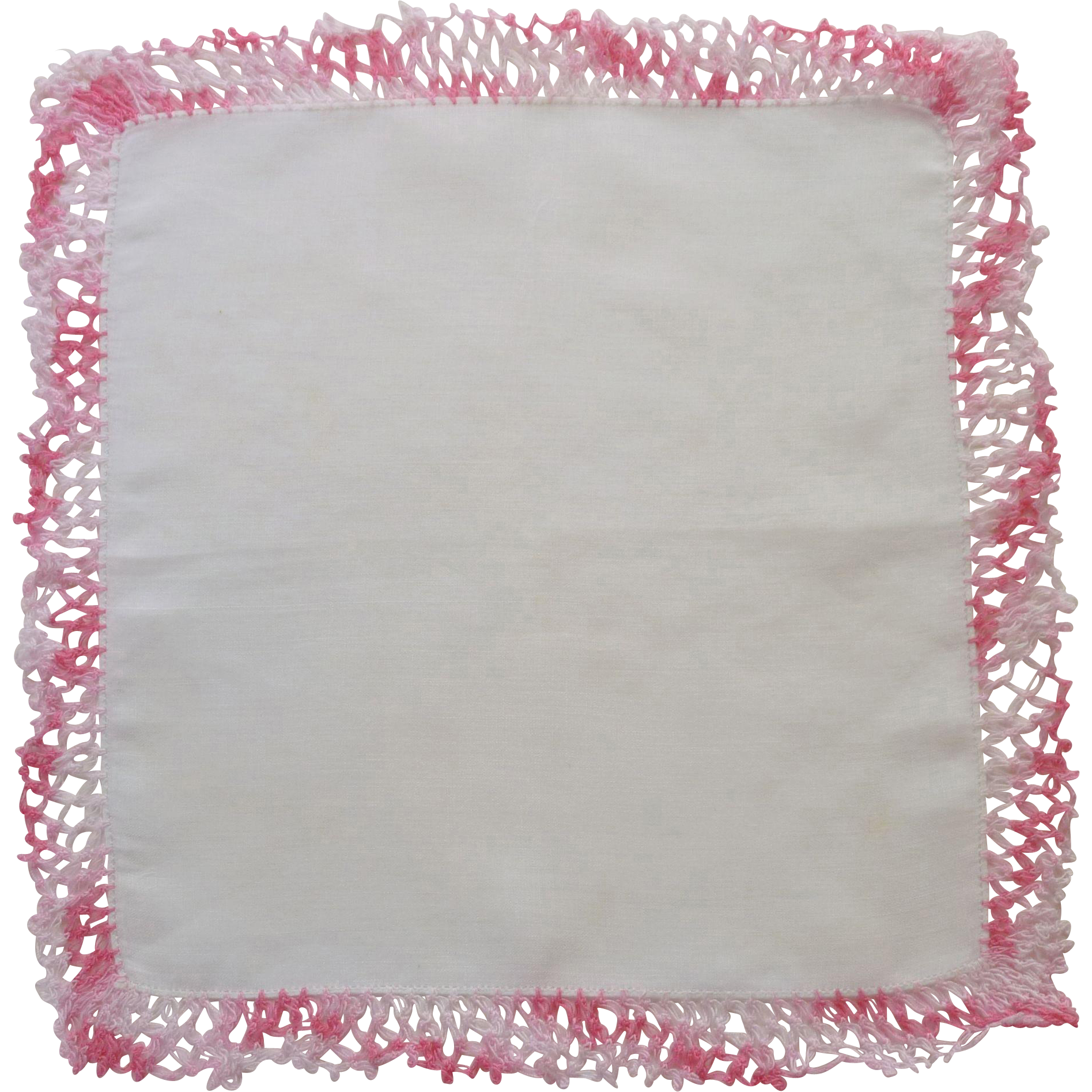 Variegated Pink Crochet Lace Edged on White Handkerchief