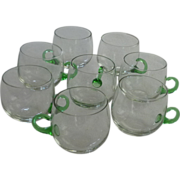 8 Hand Blown Green Handled Punch Cup Set