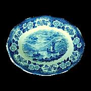 Blue Oval Serving Platter Royal Warwick Lochs of Scotland
