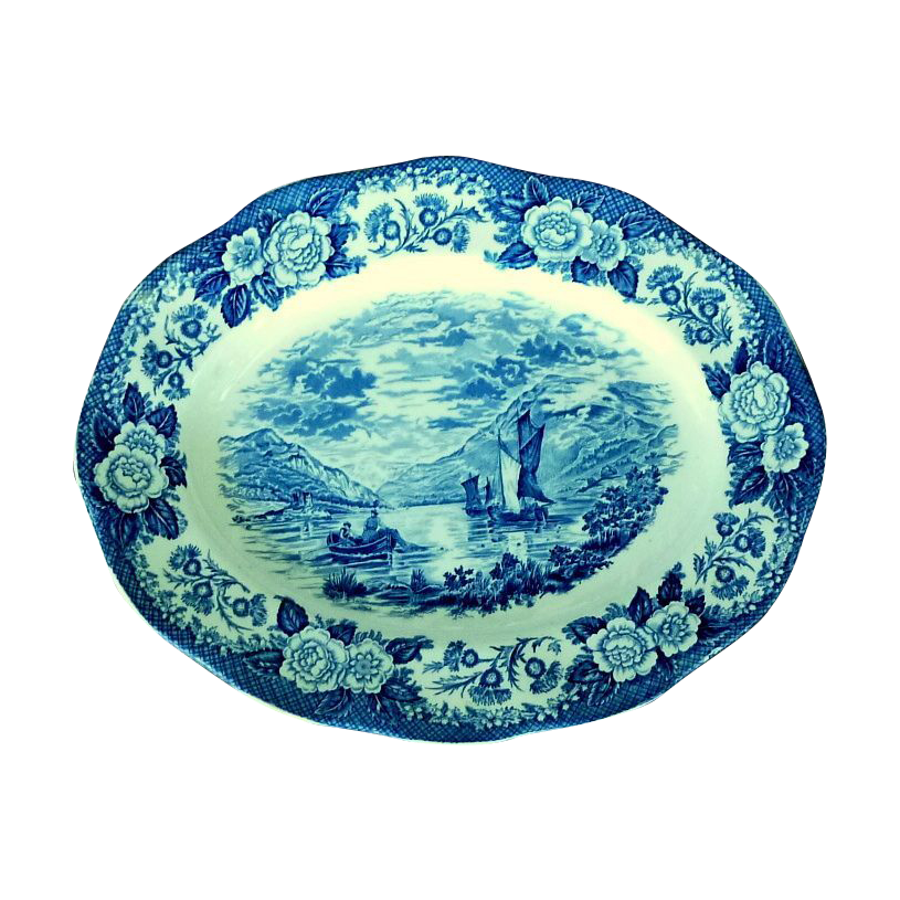 Blue Oval Serving Platter Royal Warwick Lochs of Scotland
