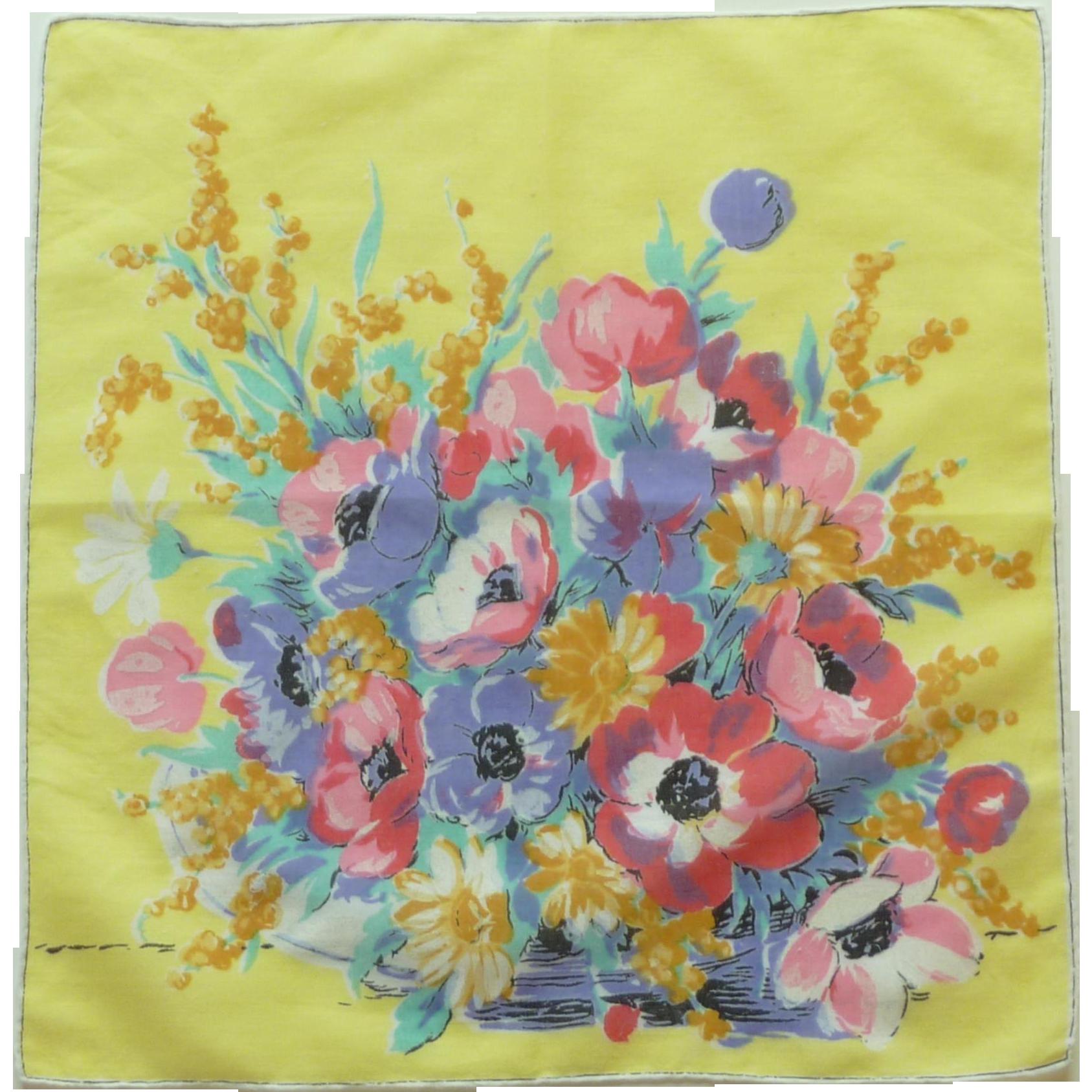 Brilliant Bouquet of Flowers Handkerchief