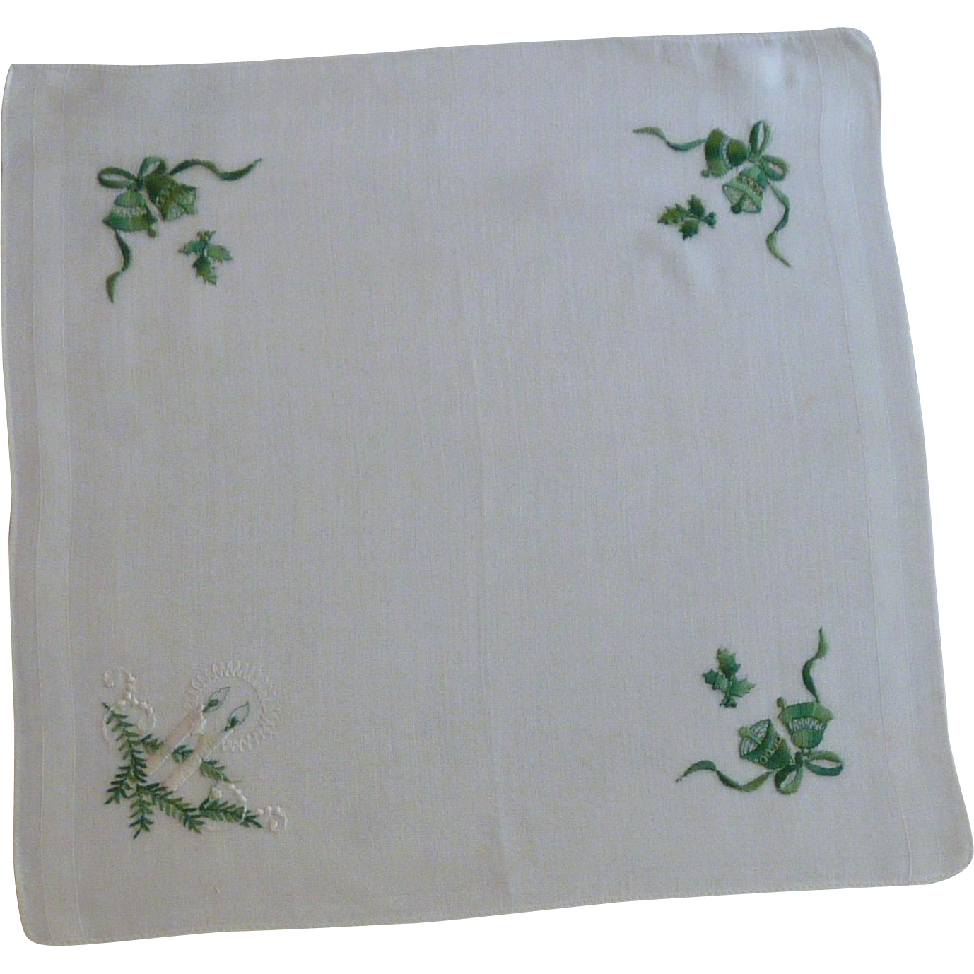 Green Bells on White Christmas Handkerchief