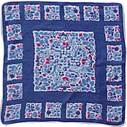 Red, White and Dutch Blue Tulip Handkerchief