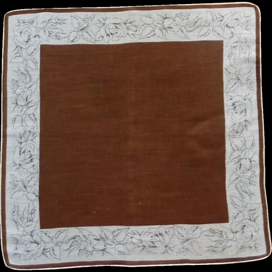 Brown Floral Roses Border Handkerchief