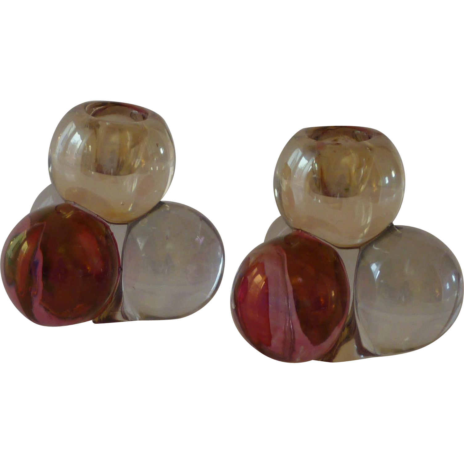 Pink Red Flash Bubble Candle Stick Holders